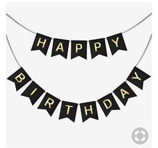 (Instocks) Happy Birthday Bunting with gold wordings