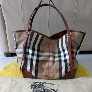Authentic Burberry Medium Bridle House Check Tote
