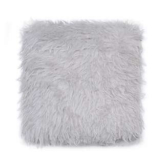 Light Grey Fur Cushion 40 x 40