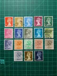 英國通用郵票 18枚不同