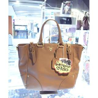Prada Brown Leather Shoulder Handbag Hand Bag 普拉達 啡色 牛皮 皮革 手挽袋 手袋 肩袋 袋