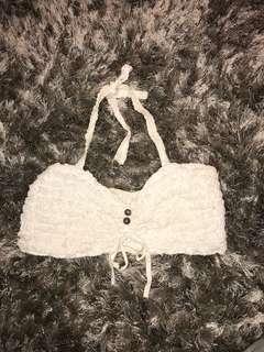 White frilly crop halter-neck top