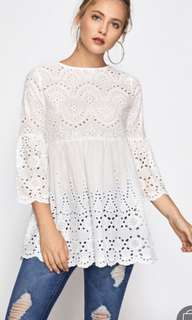 SHEIN eyelet embroidered scallop trim smock blouse
