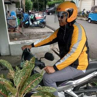 Paket Sepasang - Helm & Jaket Motor Baru