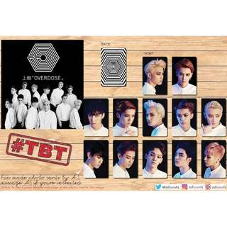 EXO OVERDOSE UNOFFICIAL PHOTO CARDS