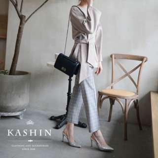 KASHIN銀色尖頭後繫帶高跟鞋