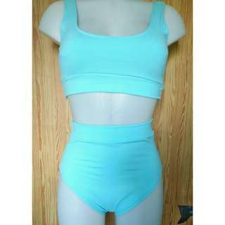 Pastel Blue Sports Bra Two Piece Bikini Highwaist Swimsuit