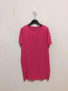 🚚 桃粉素色洋裝