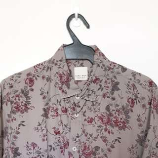 Zara Gray and Maroon Floral button down