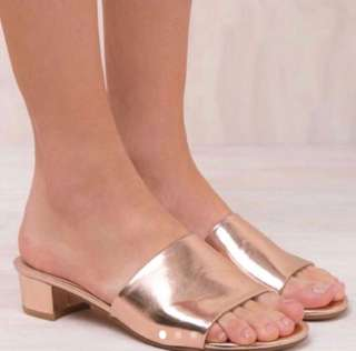 Billini rose gold mules size 8