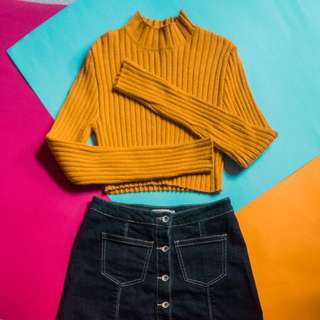 REPRICED: Forever 21 Mustard Yellow Longsleeved Turtleneck Crop Top