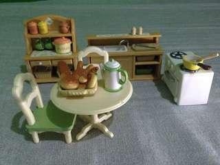 Sylvanians Kitchen Set + Table Ware + Breakfast Set