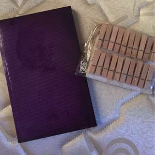 Book with wooden clips