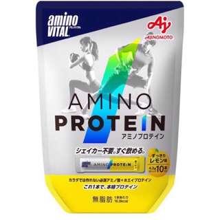 日本 Amino Vital 胺基酸蛋白質 10包 檸檬風味 配合必需胺基酸和乳清蛋白的蛋白質