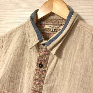 🚚 M2 squared 棉麻七分袖襯衫 混毛巾布 拼接