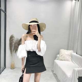 超美平口一字領露肩女神上衣+修飾包裙黑白兩件SET套裝划算組