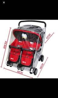 Rain cover for double stroller (offer only sgd20)