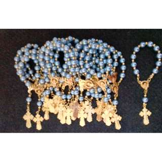 Pearl Gold Pocket Rosary Souvenir and Giveaways wedding, baptismal, birthday