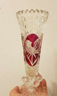 Retro ruby red crystal vase