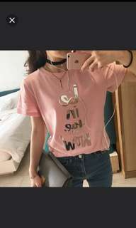Instock❤️Korean Simple Pink Casual Top For outing / for school / overseas holidays / party / working / homewear