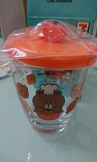 7-11 line Friend 玻璃杯 橙色