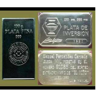 ♦ or Best Offer ! SPAIN, 1 Lot - 2x 100g Grams (6.42 Oz Troy) 999 Fine Silver Classic bars