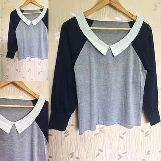 Blue // Gray Collared Comfy Longsleeves ❤️