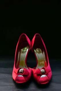 Red Peeptoe Higheeled Shoes