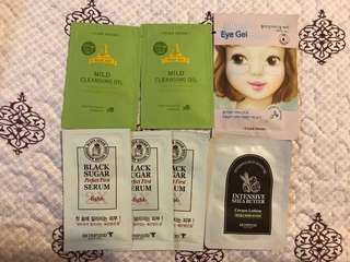 Etude House Eye Gel Patch and Cleansing Oil, SkinFood Black Sugar Serum and Cream Lotion