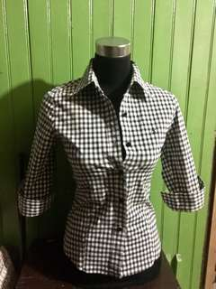 Gingham 3/4 sleeve blouse