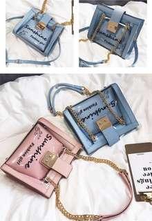 🚚 預購子母包®️韓版夏季透明子母包防水包肩背包側背包中型包小方包鏈條包