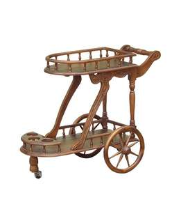 Teak wood display trolley