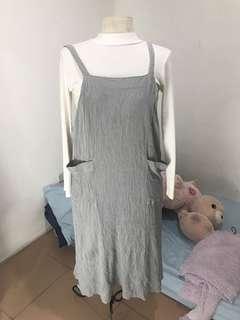 Gray Overall Dress