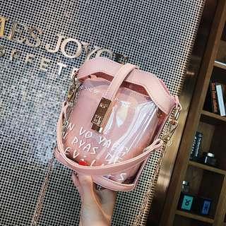 🚚 子母包預購®️韓版透明百搭休閒防水包手提手拿肩背包側背包鏈條包