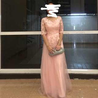 Pastel Pink Laced Chiffon Gown