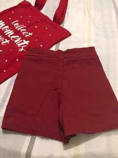 Maroon Highwaist Shorts