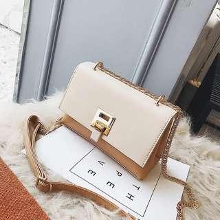 🚚 預購®️韓系chic鏈條包 雙夾層設計 雙色拼接側背包 肩背包