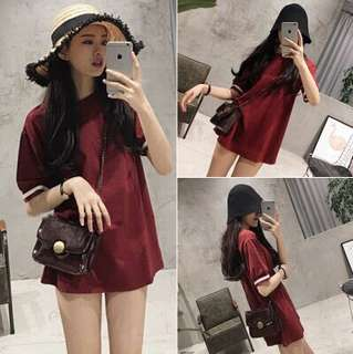 Korean ulzzang wine red thread loose T-shirt