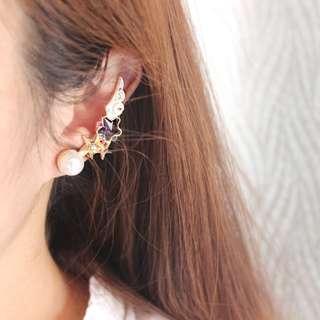 【現貨-單耳】星星寶石翅膀水鑽珍珠長款中二耳夾