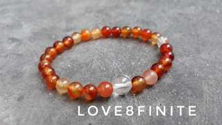 Custom made 6mm carnelian crystal bracelet