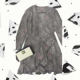 Printed wrap around dress
