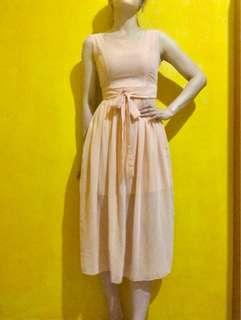 🚚 粉色雪紡洋裝