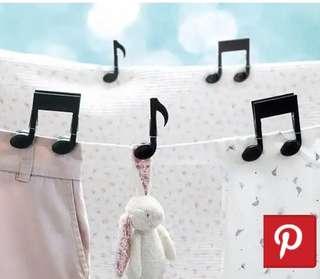 La La Land Musical Note Clothing Peg Pack of 6