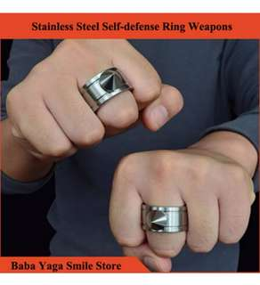 1 Pair Self-defense Ring Shocker Weapons Product Survival Ring