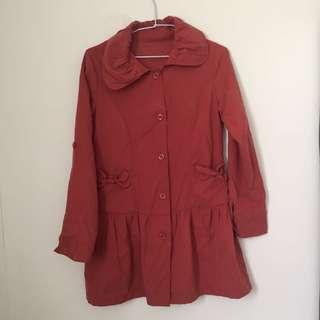 🚚 橘紅蝴蝶結口袋造型外套