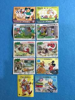 Dominica Lot of 10 Used Disney Stamps  from 1979, 1981, 1982, 1985 & 1986 Issues (Short Sets)