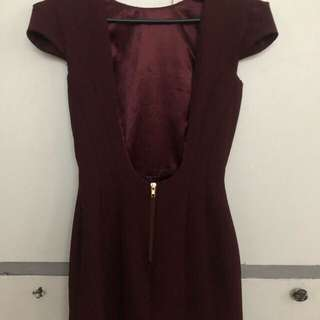 Maroon Backless Dress