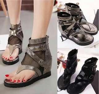 預購 夏季羅馬皮帶高幫內增高夾趾女鞋