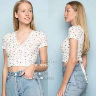 (4 Colors) 2 Way Brandy Melville Rae Wrap Around Floral Top