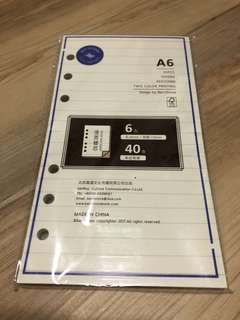 A6 Note Refills (40 sheets)/Beige Colour paper/Free Local Mail